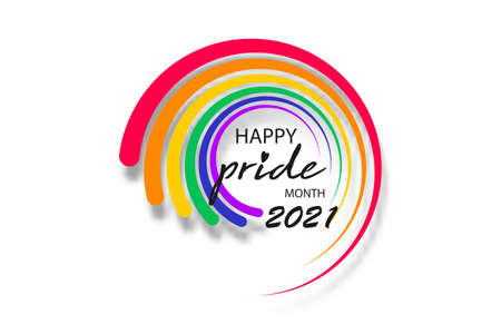 Pride month 2021 round logo with rainbow flag. Banner Pride symbol, LGBT, sexual minorities, gays and lesbians. Background Love is love. Template designer sign, icon colorful rainbow isolated on white