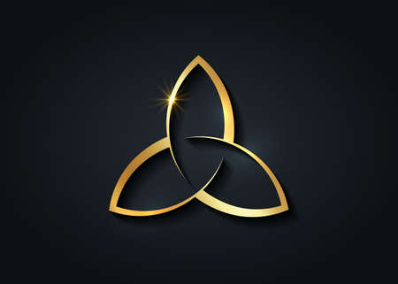 Triquetra gold logo, Trinity Knot, Pagan Celtic symbol Triple Goddess. Wicca golden sign, book of shadows, Luxury Vector Wiccan divination isolated on black background