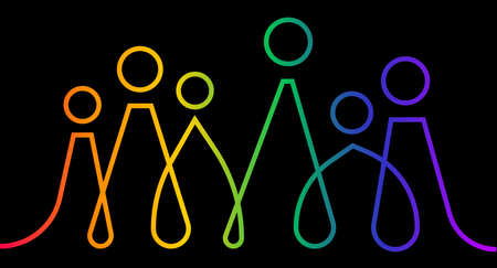 Inclusion and diversity infographic LGBTQ + vector set, people vector logo for website, banner gay pride month 2021 concept, colorful rainbow line art vector isolated on black background