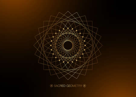 Gold Circle mandala, Sacred Geometry, round frame sign geometric logo design with intertwining of square and triangular shapes, golden line drawing mystic icon vector isolated on black background