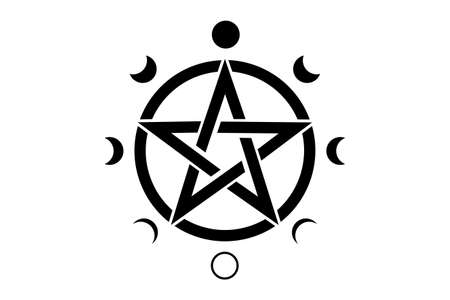 Pentacle circle symbol and Phases of the moon. Wiccan symbol, full moon, waning, waxing, first quarter, gibbous, crescent, third quarter. Vector mystic logo isolated on white background