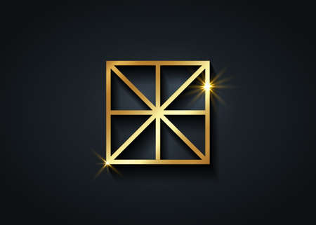 Sacred Center, The Omphalos, gold exoteric symbols, eight linear segments converging towards a central point of a square. Golden Geometry Logo icon isolated on black background 向量圖像