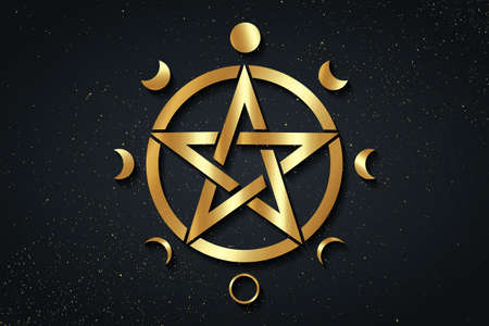 Gold Pentacle circle symbol and Phases of the moon. Wiccan symbol, full moon, waning, waxing, first quarter, gibbous, crescent, third quarter. Vector logo isolated on black golden starry background