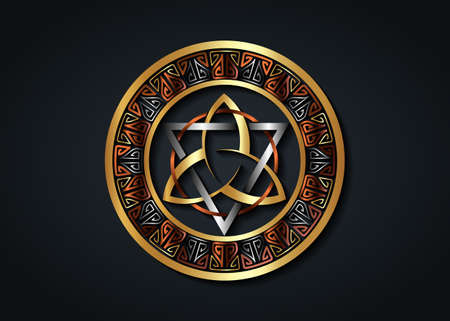 The Grand Seal of gold Triquetra with silver Triangle and bronze Circle logo, Metallic Frame Trinity Knot, Pagan Celtic symbol Triple Goddess. Wicca sign, book of shadows, vector isolated on black 向量圖像