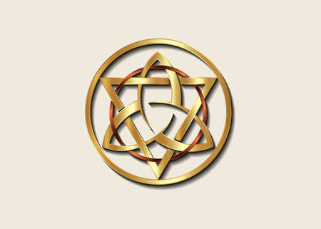 The Grand Seal of gold Triquetra with Triangle and bronze Circle logo, Luxury Metallic round Trinity Knot, Pagan Celtic symbol Triple Goddess. Wicca sign, book of shadows, vector isolated on white