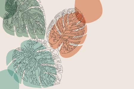 Abstract line art leaf. Monstera contour drawing. Minimal art leaves on geometric shapes backgroud. Modern minimalist black and white botanical illustration. Elegant silhouette line foliage drawing 向量圖像