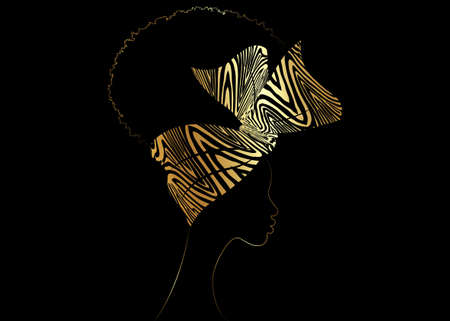 Portrait African woman wears bandana for curly hairstyles. Shenbolen Ankara Headwrap Women. Afro Traditional Headtie Scarf Turban in gold zebra fabric design texture. Vector isolated on black