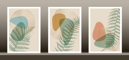 Botanical wall art vector set. Tropical fern foliage line art drawing with abstract shape, Abstract Plant Art design for wall framed prints, canvas prints, poster, home decor, cover, wallpaper