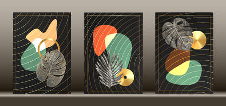 Luxury gold wallpaper. Black and golden background. Tropical leaves wall art design with colorful and shiny golden striped texture. Modern art mural wallpaper. Vector illustration 向量圖像