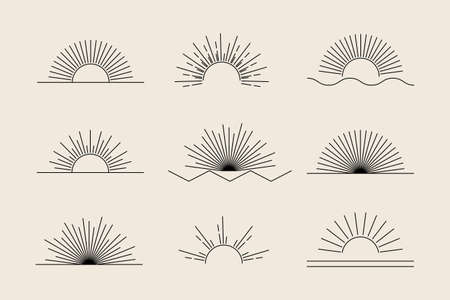 Vector Sun set of black linear boho icons and symbols, sun logo design templates, abstract design elements for decoration in modern minimalist style for social media posts, stories, isolated