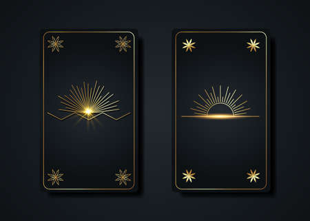 Set magical tarot cards, gold magic Sun boho style, sacred geometry sign, esoteric spiritual symbols, Flower of Life. Luxury Seed of life flowers. Vector collection golden and black background