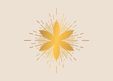 Seed of life symbol Sacred Geometry. Boho style gold Logo icon Geometric mystic mandala of alchemy esoteric Flower of Life with rays of light. Vector template divine meditative amulet isolated