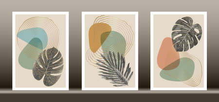 Botanical wall art vector set. Golden foliage line art drawing with abstract shape, Gold Abstract Plant Art design for wall framed prints, canvas prints, poster, home decor, cover, wallpaper