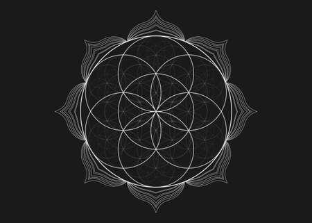 Seed Flower of life lotus icon, yantra mandala sacred geometry, tattoo symbol of harmony and balance. Mystical talisman, white lines vector isolated on black background