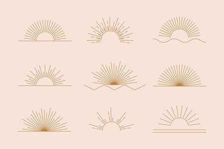 Vector Sun set of linear boho icons and symbols, gold sun logo design templates, abstract design elements for decoration in modern minimalist style for social media posts, stories, artisan jewelery