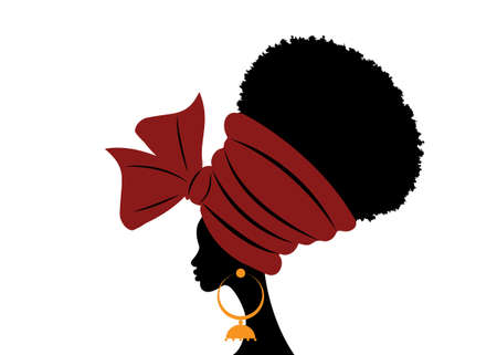portrait beautiful African woman in traditional turban handmade tribal wedding red textile, Kente head wrap African with ethnic earrings, black women Afro curly hair, vector silhouette isolated 向量圖像