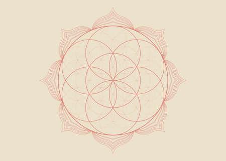 Seed Flower of life lotus icon, yantra mandala sacred geometry, tattoo symbol of harmony and balance. Mystical talisman, henna color lines vector isolated on vintage background 向量圖像