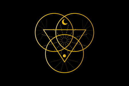 Sacred Geometry, Triangle logo and overlapping circles, Triquetra Trinity Knot symbol, Triple Goddess, rays of light. Wicca sign, book of shadows, Vector Wiccan divination isolated on black background
