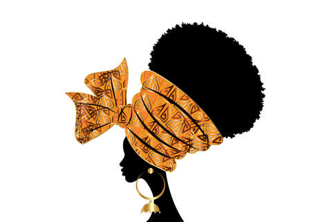 portrait beautiful African woman in traditional wax turban handmade wedding tribal motif, Kente head wrap African with gold ethnic earrings, black women Afro curly hair, vector silhouette isolated 向量圖像