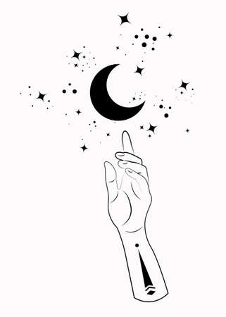 Mystical Hand alchemy esoteric magic moon symbol, Sacred Geometry. Boho style Logo in black outline tattoo icon. Spiritual occultism mystic wicca sign. Vector template isolated on white background 向量圖像