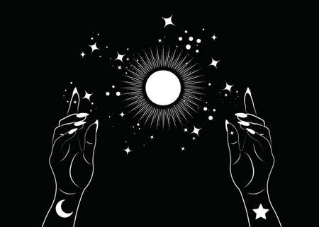 Mystical Woman Hands alchemy esoteric magic sun symbol, Sacred Geometry. Boho style Logo in white outline tattoo icon. Spiritual occultism mystic wicca sign. Vector template isolated on black