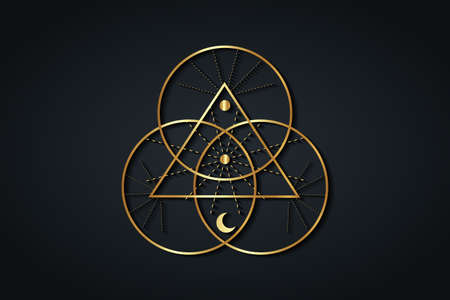 Gold Sacred Geometry, Triangle logo and overlapping circles, Triquetra Trinity Knot symbol, Triple Goddess, rays of light. Wicca sign, book of shadows, Vector divination isolated on black background