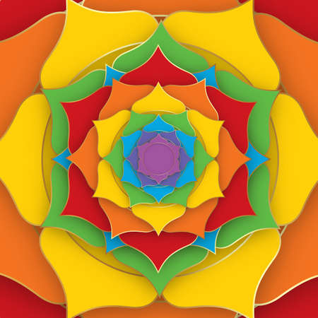 Sacred Lotus with the seven colors of the chakras for yoga, meditation and spa center. Set of mystical colorful petals, esoteric multicolors flower, vector Indian lotus background