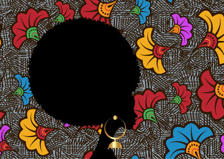 portrait African Woman, black curly afro hair, dark skin female face with curly hairstyle concept. ethnic traditional gold earrings. Vector black girl silhouette isolated or wedding flowers background