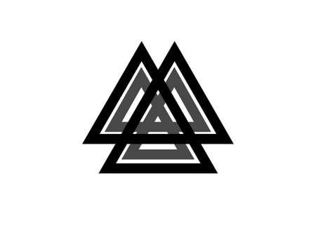 Interwoven triangles, valknut, sacred geometry. Flat icon.