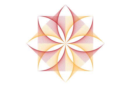 lotus flower mandala, Seed of life symbol Sacred Geometry. icon Geometric mystic mandala of alchemy esoteric Flower. Vector colorful string line art divine meditative amulet isolated on white 向量圖像