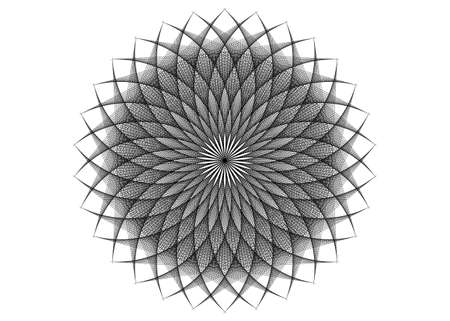 string art flower mandala, Seed of life symbol Sacred Geometry. icon Geometric mystic mandala of alchemy esoteric Flower. Vector black strings line art divine meditative amulet isolated on white
