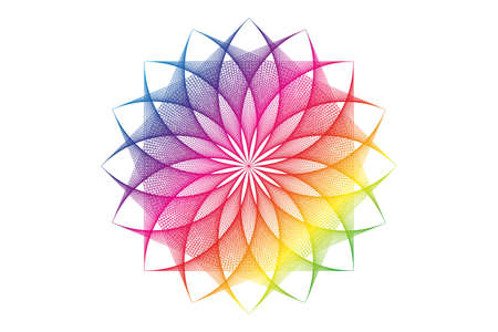 lotus flower spectrum mandala, Seed of life, Sacred Geometry. Logo icon Geometric thread art sign of alchemy esoteric Flower. Vector colorful string line art divine meditative amulet isolated on white