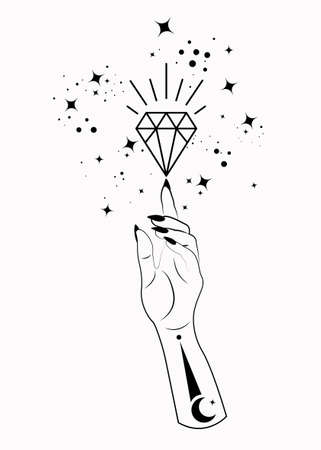 Mystical Woman Hand alchemy esoteric magic space stars, crystal symbol, Sacred Geometry. Boho style Logo in black outline tattoo icon. Spiritual occultism mystic wicca sign. Vector isolated on white