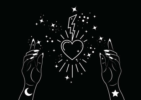 Mystical Woman Hands alchemy esoteric magic space stars, lightning and sacred heart symbol. Boho style Logo in white outline tattoo icon. Spiritual occultism mystic wicca sign Vector isolated on black