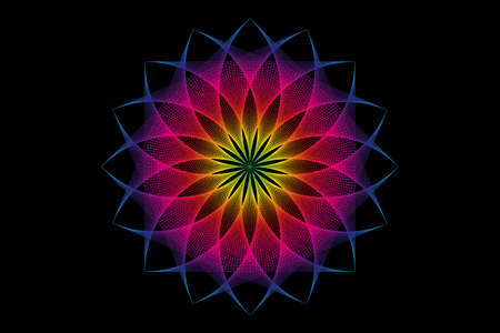 lotus flower spectrum mandala, Seed of life, Sacred Geometry. Logo icon Geometric thread art sign of alchemy esoteric Flower. Vector colorful string line art divine meditative amulet isolated on black 向量圖像