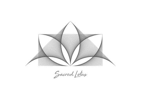 Geometric wireframe Sacred Lotus Flower, thread art. Sacred Geometry. String black line Symbol of Harmony and Balance. Sign of purity. Flower logo design vector isolated on white background 向量圖像