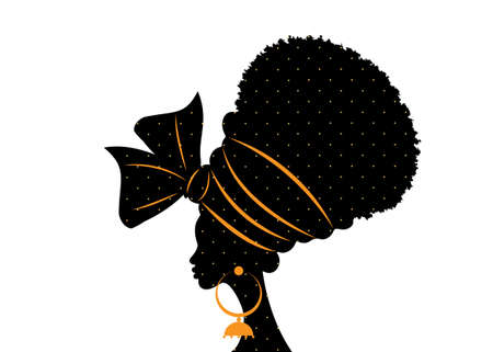 portrait beautiful African woman in traditional turban handmade tribal wedding polka dots textile, Kente head wrap African with ethnic earrings, black women Afro curly hair vector silhouette isolated