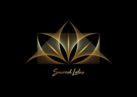 Gold Geometric wireframe Sacred Lotus Flower, thread art. Sacred Geometry. String golden line Symbol of Harmony and Balance. Sign of purity. Flower logo design vector isolated on black background 向量圖像