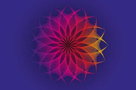 lotus flower spectrum mandala, thread art, Sacred Geometry. String Art colorful Logo icon. Geometric sign of alchemy esoteric Flower. Vector divine meditative isolated on blue background