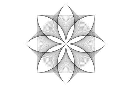 lotus flower mandala, thread art, symbol Sacred Geometry. Logo icon, Geometric mystic mandala of alchemy esoteric Flower. Vector black string line art divine meditative amulet isolated on white