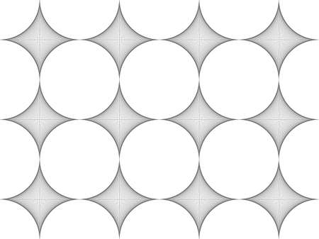 Seamless pattern. Stylish texture. Thread art, Strings line, Tile with regularly repeating geometrical elements, shapes, rhombuses, arches, crossed circles. Monochrome. Backdrop. Web.