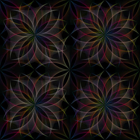 Seamless colorful Flower of Life symbol, square template, spectrum gradient geometric wireframe Sacred Lotus Flowers, thread art, floral Sacred Geometry in String line grid isolated black background