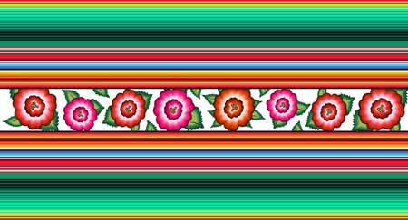 Seamless Banner Mexican floral embroidery pattern, ethnic colorful native flowers folk fashion design. Embroidered Traditional Textile Style of Mexico, vector isolated on striped background