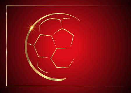football games Icon gold ball symbol. Sport sign, vector emblem isolated on luxury red background vip card, Flat style for graphic and web design 向量圖像