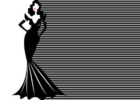 Fashion model in black and white striped background, woman in glamor long black dress vogue style. Vector banner template illustration