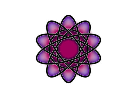 Pictograph of atom. Purple template in Celtic knot style on white background. Tribal symbol in circular mandala form. Tattoo sign ornament element design. Vector icon isolated 向量圖像