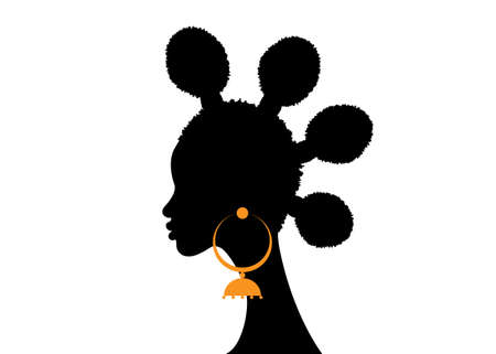 Afro hairstyles, Woman hair bun styles for curly hair, beauty Curly Puff for Extension fashion hair, vector isolated on white background