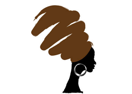 portrait beautiful African woman in traditional turban, hand drawing style, black women vector silhouette isolated, grunge logo design hairstyle concept, white background