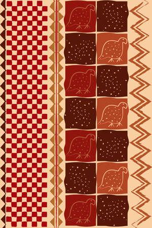 african traditional wall hangings, ethnic pattern, print fabric textile, tribal handmade geometric motifs. Zimbabwe crafts vector illustration Afro texture, Pareo wrap dress, carpet batik background 向量圖像
