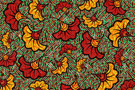 African Wax Print fabric, Ethnic overlap ornament flower fashion design, kitenge pattern motifs floral elements. Vector texture, afro colorful textile Ankara style. Pareo wrap dress wedding flowers 向量圖像